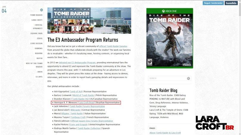 Lara Croft Tomb Raider E3 Ambassador Fansite